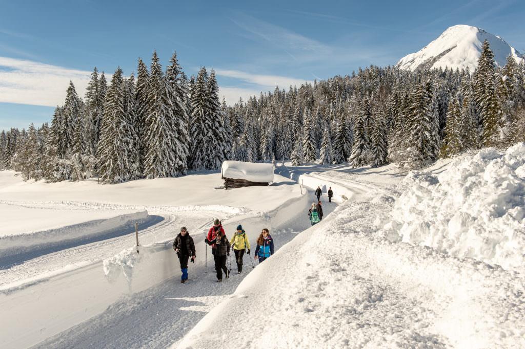 Schneewanderung in Mösern - mit Blick auf die Hohe Munde, Foto Johannes Geyer